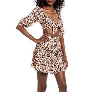 Minkpink Floral Tiered Mini Skirt